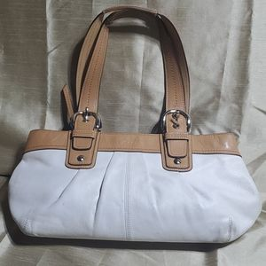 Coach purse.  White and tan leather shoulder bag